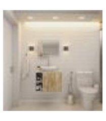 conjunto para banheiro gabinete com cuba folha l38 e espelheira soft 600 branco com carvalho