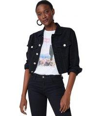amaro feminino jaqueta sarja ombro deslocado, preto