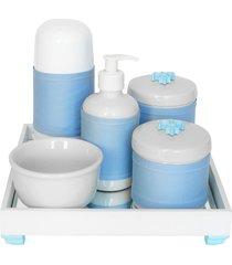 kit higiene espelho completo porcelanas, garrafa pequena e capa flor de liz azul quarto bebê menino