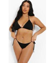 plus driehoekige glitter bikini top, black