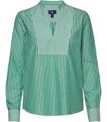 o1. preppy striped popover shirt blouse lange mouwen groen gant
