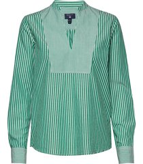 o1. preppy striped popover shirt blouse lange mouwen groen gant