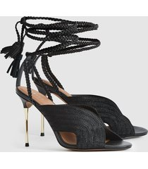 reiss minerva - braided ankle strap sandals in black, womens, size 10