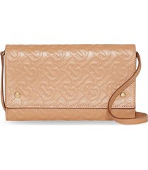 burberry monogram leather wallet with detachable strap - neutrals