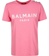 balmain logo print embellished shoulder t-shirt