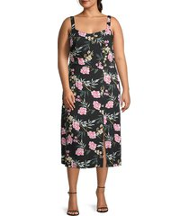 vero moda women's floral-print scoopneck front slit midi dress - black multi - size 16