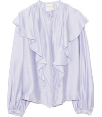 chic twill volants shirt in cielo
