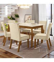 mesa de jantar 6 lugares kalyta nature/off white/linho - bci móveis