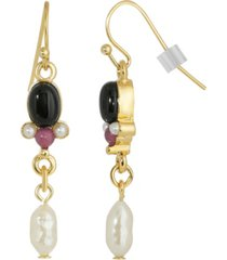 2028 gold-tone semi precious onyx and imitation pearl drop earrings