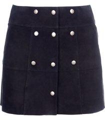 saint laurent button suede leather skirt
