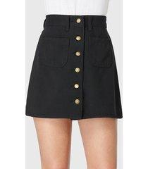 black denim pockets front button skirt