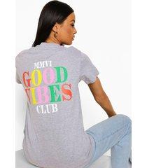 oversized good vibes t-shirt met rugopdruk, grey marl