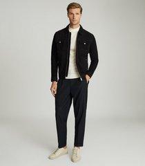 reiss cash - suede four pocket jacket in navy, mens, size xxl