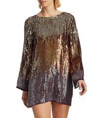 rixo women's aria sequin ombre mini dress - bronze ombre - size s