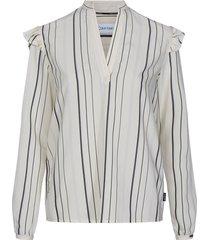 bold stripe frill blouse