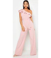 wide leg jumpsuit met eén blote schouder en ceintuur, soft pink