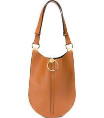 marni curved flat shoulder bag - brown