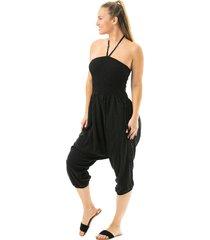 buddha pants women's key west convertible jumper - black small cotton