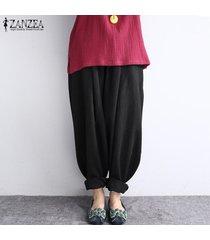 zanzea mujeres de la alta cintura largo baggy leggings pantalones harem hippy -negro