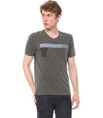 camiseta calvin klein jeans denim corporation cinza