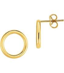 14k yellow gold open round stud earrings