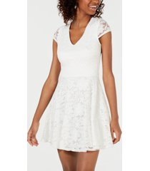 b darlin juniors' lace tie-back fit & flare dress