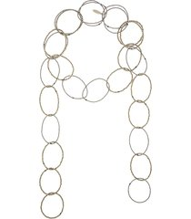 brunello cucinelli bead hoop scarf necklace - metallic