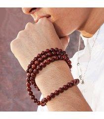 braccialetto buddista con perline rosari di lengo di sandalo rosso