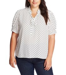 plus size women's cece heirloom polka dot top, size 3x - white