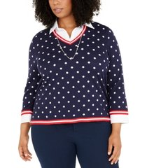 alfred dunner plus size polka-dot two-for-one necklace sweater