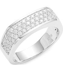 effy men's 14k white gold & diamond multi-row ring/size 10 - size 10