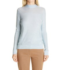 women's akris mock neck silk lurex sweater, size 8 - white