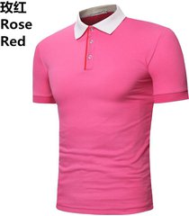 camiseta de solapa de casual tops hombre verano nuevo polo casual-rosa roja
