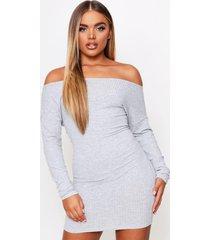 off the shoulder soft rib mini dress, grey