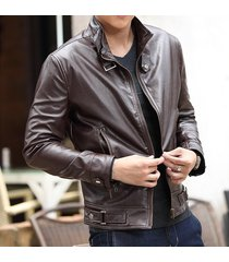 men's fashion brown blted collar leather jacket, mens brown biker leather jacket