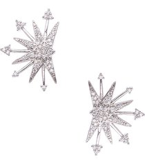 eye candy la women's snow star silvertone & crystal stud earrings