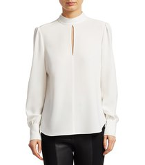a.l.c. women's marina long-sleeve crepe blouse - white - size 0