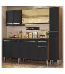 cozinha completa madesa emilly west com balcão, armário vidro reflex e paneleiro - rustic/preto rustic/preto