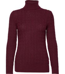 croyde cable roll neck turtleneck coltrui rood superdry