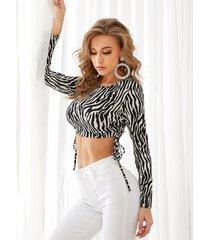yoins zebra cuello redondo con cordón cuello top corto de manga larga