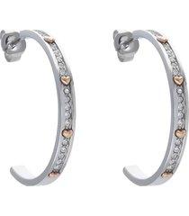orecchini a cerchio in acciaio e strass con cuori oro rosa per donna