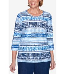 alfred dunner petite panama city printed 3/4-sleeve top