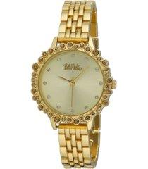 bob mackie women's gold-tone alloy bracelet crystal bezel watch, 31mm