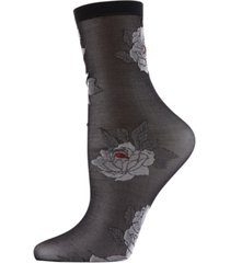 natori clair de lune floral sheer anklet socks, online only
