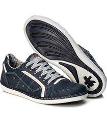 sapatenis couro tchwm shoes masculino palmilha gel conforto azul