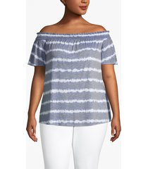 lane bryant women's tie-dye stripe convertible neckline tee 14/16 chambray blue