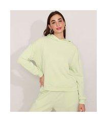 blusão amplo de moletom com capuz mindset verde claro