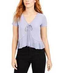 bar iii mixed media tie-front top, created for macy's