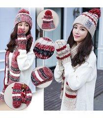 donna set inernale di beanie sciarpa guanti in cotone a maglia pesante con pom pom a righe