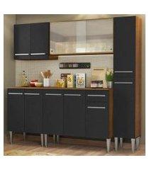 cozinha completa madesa emilly fast com balcão, armário vidro miniboreal e paneleiro - rustic/preto rustic/preto